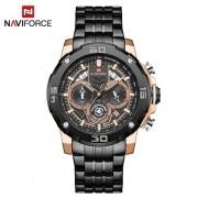 Relógio Masculino Naviforce NF9175 RGB Pulseira em Aço Inoxidável Â- Preto e Dourado Rose