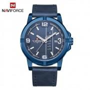 Relógio Masculino Naviforce NF 9177 BEWBE Pulseira em couro Â- Azul