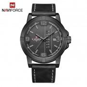 Relógio Masculino Naviforce NF 9177 BGYB Pulseira em couro Â- Preto