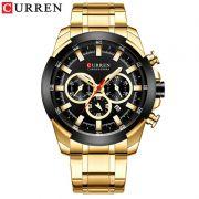 Relógio Masculino Curren 8361 GB Pulseira em Aço Inoxidável – Dourado e Preto