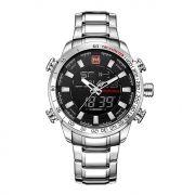 Relógio Masculino Naviforce 9093 SBW Esportivo Racer - Prata