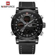 Relógio Masculino Naviforce NF9132 BGYB Pulseira em couro – Preto e Cinza