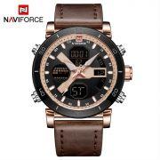 Relógio Masculino Naviforce NF9132 RGRGBN Pulseira em couro – Marrom e Dourado Rose