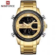 Relógio Masculino Naviforce NF9138S GG Pulseira em Aço – Dourado