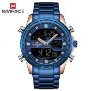 Relógio Masculino Naviforce NF9138S RGBE Pulseira em Aço – Azul e Dourado