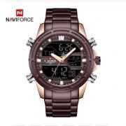 Relógio Masculino Naviforce NF9138S RGCE Pulseira em Aço – Marsala e Dourado Rose
