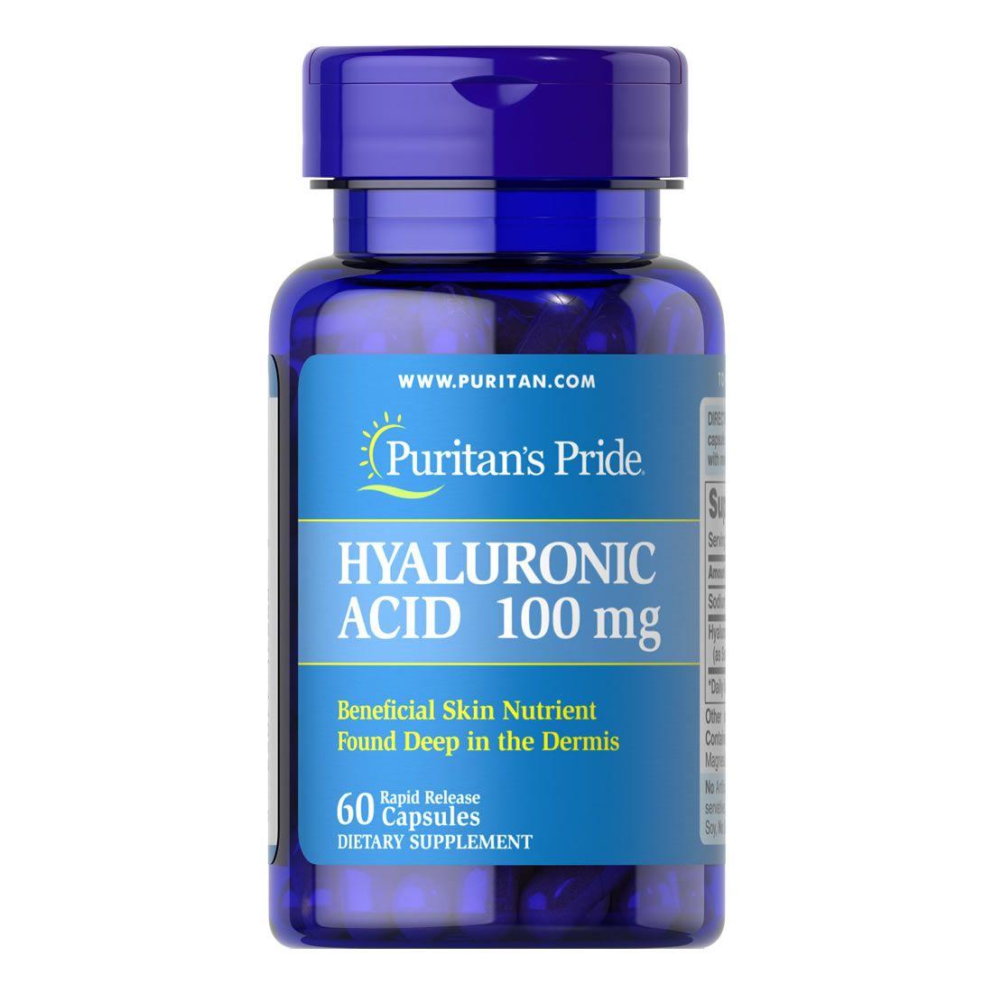 Ácido Hiarulônico 100mg Puritans Pride - 60 Cápsulas