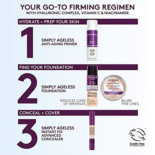 Base Líquida Anti-rugas Simply Ageless 3-in-1 Hialurônico e Vitamina C Covergirl & Olay - Soft Honey