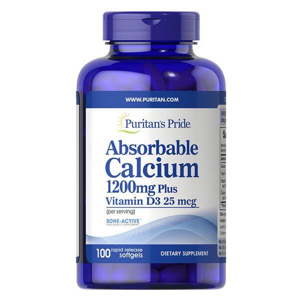 Cálcio 1200mg Com Vitamina D3 Puritans Pride - 100 Cápsulas