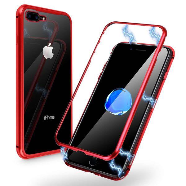 Capa alumínio Magnética Vidro Temperado  Iphone 7 Plus  8 Plus - Vermelha