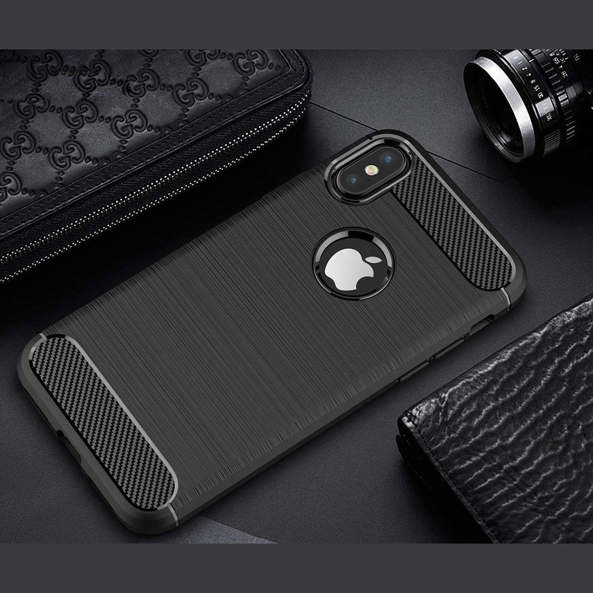 Capa para Iphone X em Poliuretano Fibra de Carbono - Preta