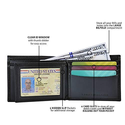 Carteira de Couro Masculina Tommy Hilfiger Slim Bifold para 6 Cartões - Black Minimal