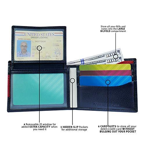 Carteira de Couro Masculina Tommy Hilfiger Slim Bifold para 6 Cartões - Blue/White/Red