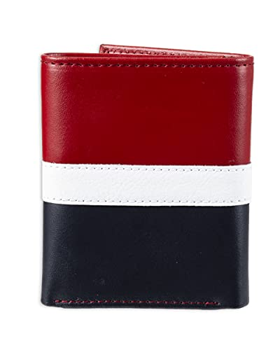 Carteira de Couro Masculina Tommy Hilfiger Trifold - Red/White/Blue