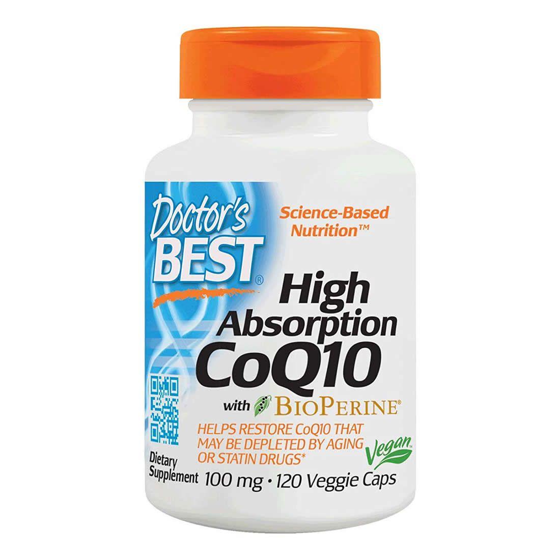 Coenzima Q10 BioPerine Doctors Best 100mg - 120 Cápsulas Veganas