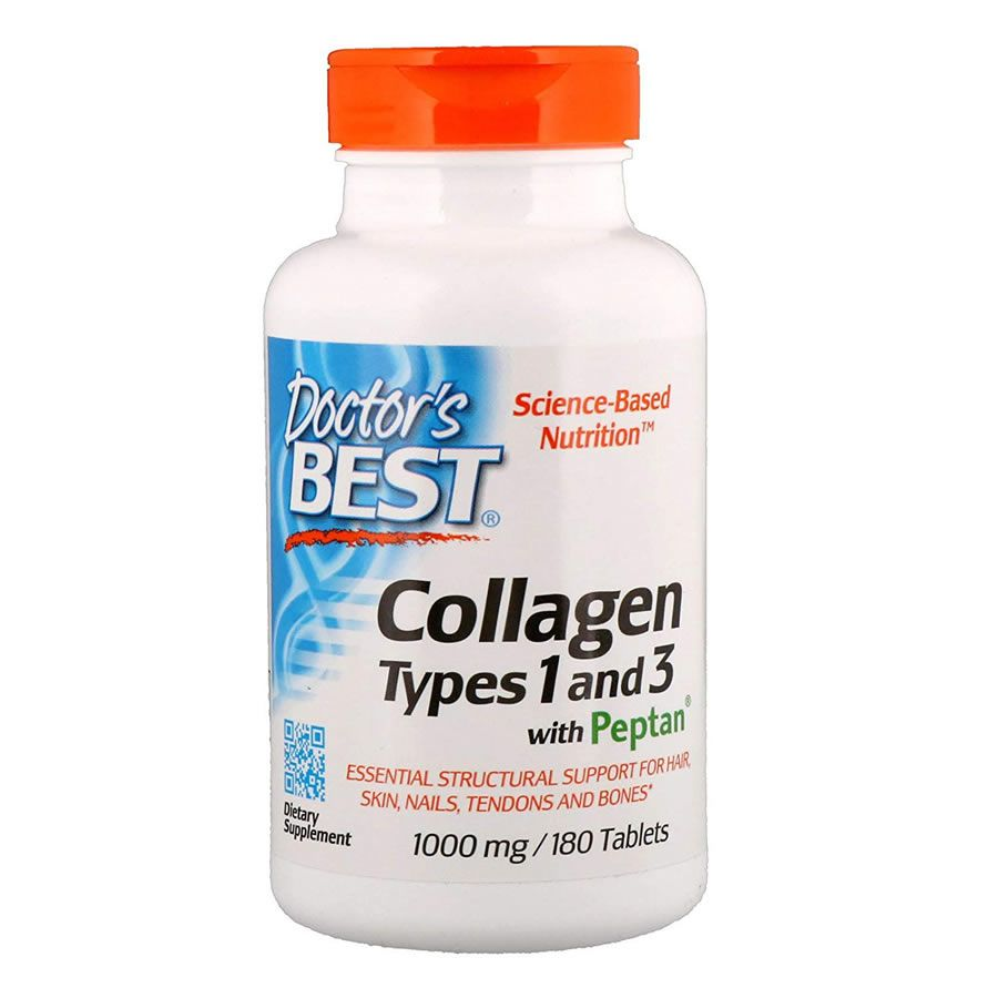 Colágeno Tipo 1 e 3 com Peptan 1000mg Doctors Best - 180 Tabletes