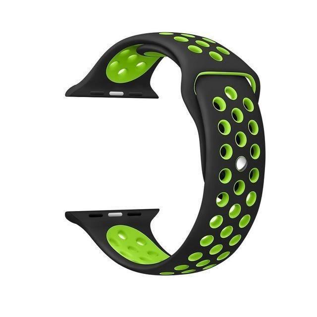 Pulseira Silicone Compatível com Apple 42mm - Preto e Verde