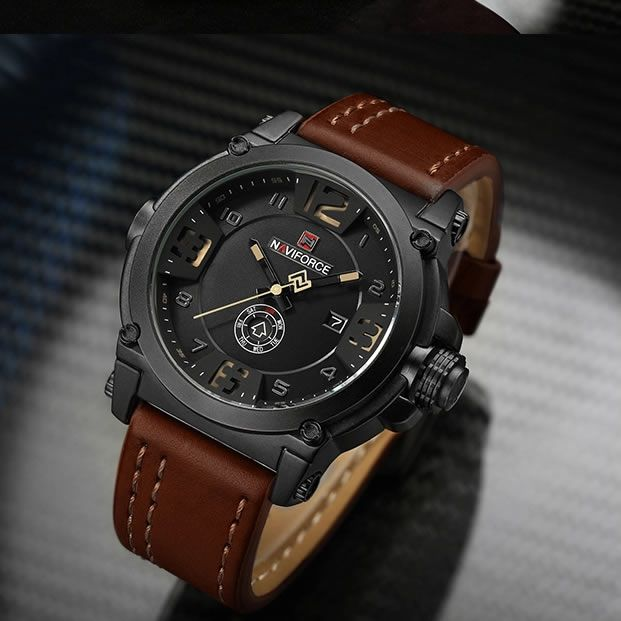 Relógio Masculino Naviforce Nf9099 Bybn Pulseira Em Couro Â- Marrom