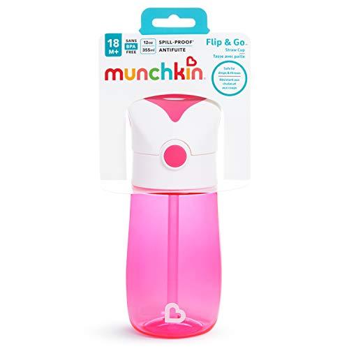 Copo com Canudo e Alça Flip and Go 355ml +18 Meses Munchkin - Pink