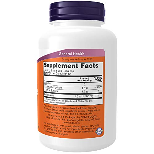 D-Mannose 500mg Now Foods - 120 Capsulas