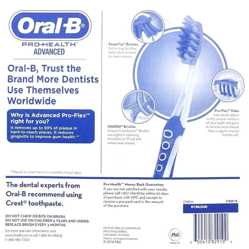 Escova Dental Oral-B Pro-Health Pro-Flex Remove 93% das placas alta tecnologia - Macia - Kit 6