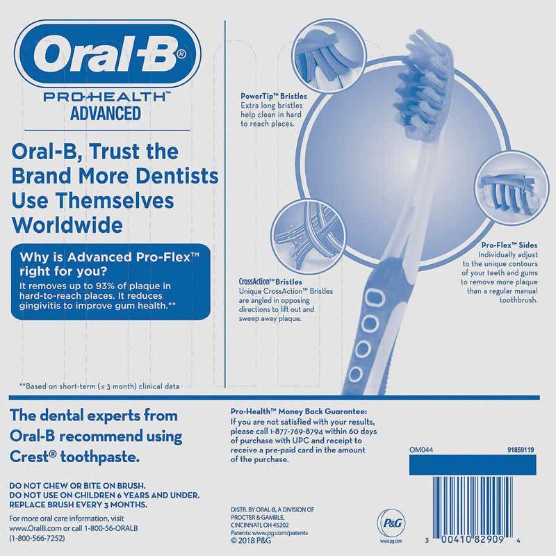 Escova Dental Oral-B Pro-Health Pro-Flex Remove 93% das placas alta tecnologia - Média - Kit 6