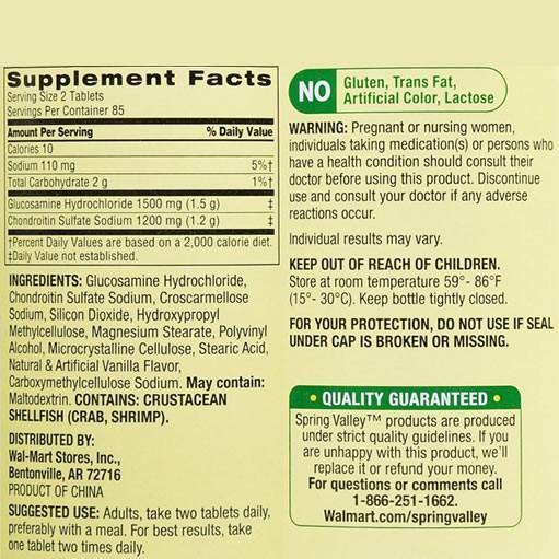Glucosamina 1500mg Spring Valley Tripla Força - 170 Tabletes