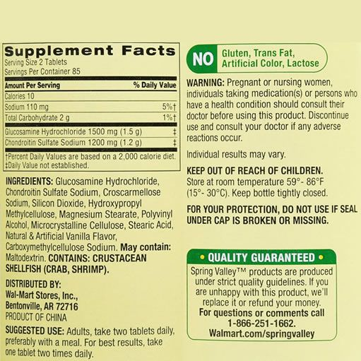Glucosamina 1500mg Spring Valley Tripla Força - 340 Tabletes (2x170)