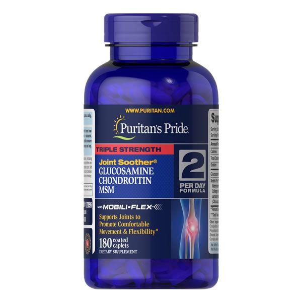 Glucosamina Condroitina MSM - Puritans Pride - 180 Capsulas Tripla Potência