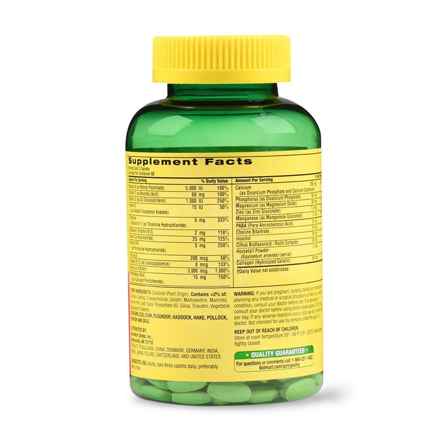 Hair, Skin & Nails Cabelo Pele & Unha com biotina e antioxidantes 3000 mcg Spring Valley -  240 Cápsulas