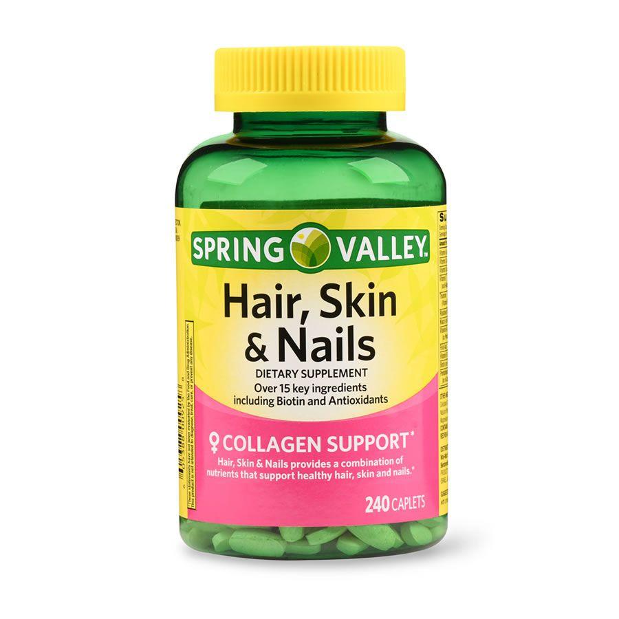 Hair Skin & Nails Cabelo Pele & Unha com biotina e antioxidantes 3000 mcg Spring Valley -  240 Cápsulas