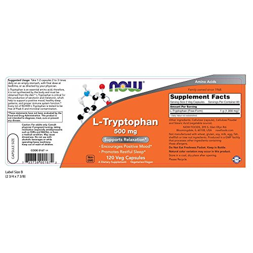 L-Tryptophan 500mg Now Foods - 120 Capsulas