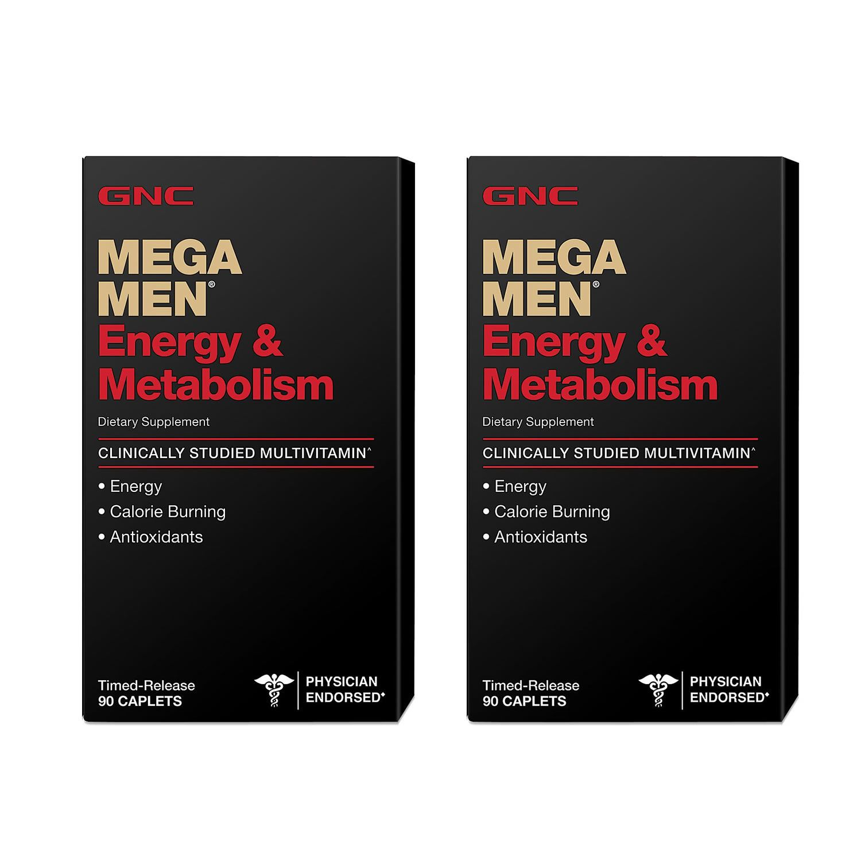 Mega Men Energy & Metabolism Multivitamínico 1600 IU Vitamina D3 GNC - 180 Cápsulas