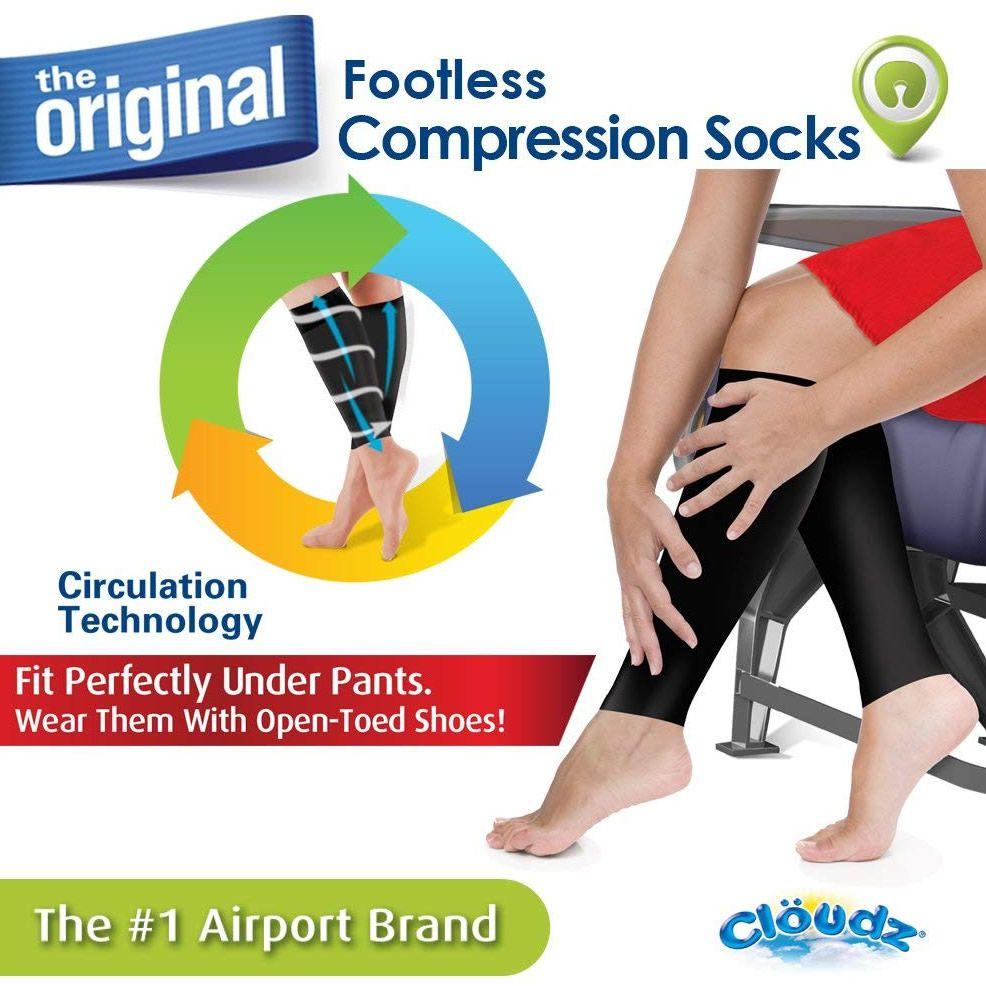 Meias de média compressão com os pés livres para viagens - Tamanho XL