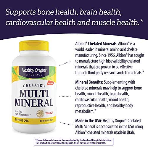 Multimineral Quelatado (Mineral Albion) Healthy Origins - 240 Cápsulas Veganas