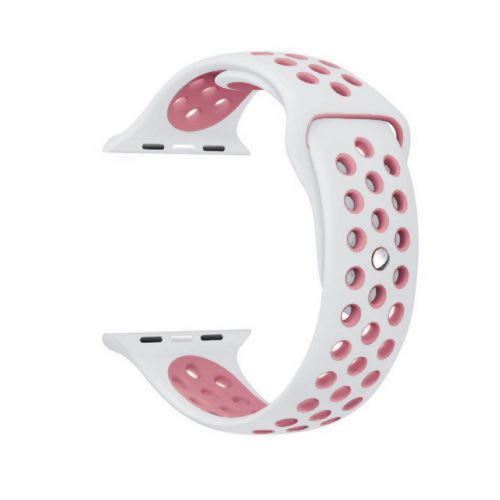 Pulseira Silicone Compatível com Apple 38mm - Branco e Rosa