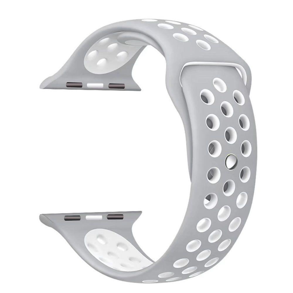 Pulseira Silicone Compatível com Apple 38mm - Cinza e Branco