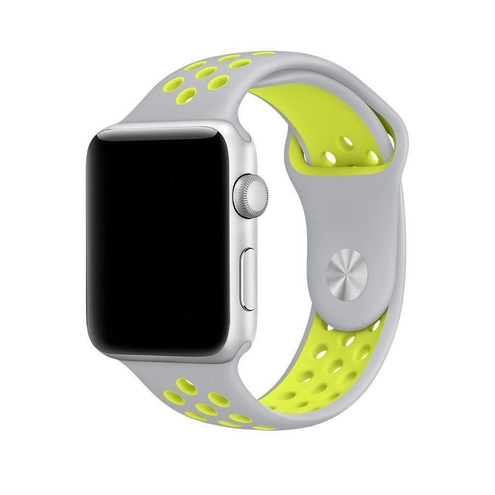 Pulseira Silicone Compatível com Apple 42mm - Cinza e Verde Limão