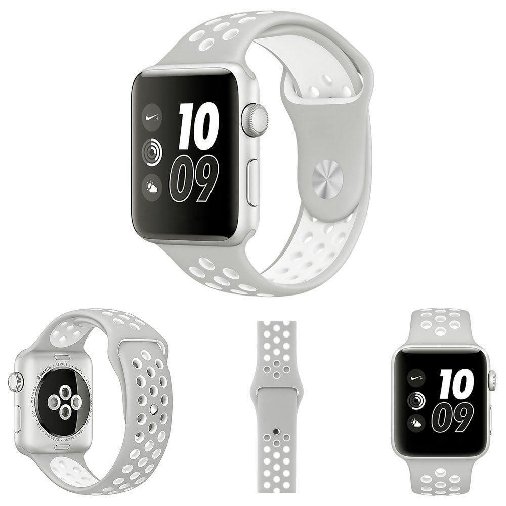 Pulseira Silicone Compatível com Apple 42mm - Cinza e Branco