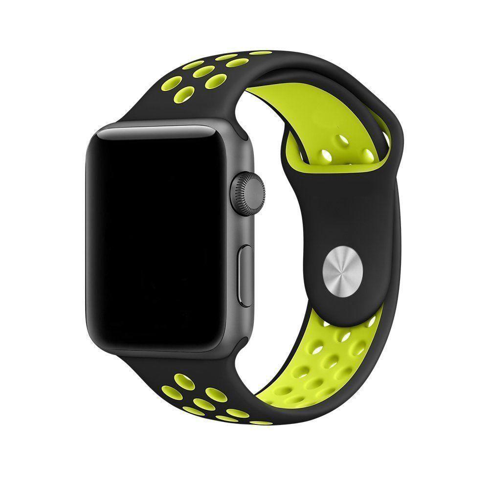 Pulseira Silicone Compatível com Apple 42mm - Preto e Verde Limão