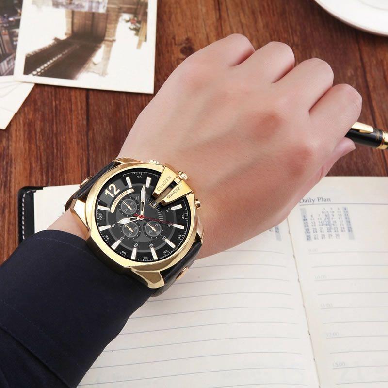 Relógio Masculino Curren 8176 BG Pulseira em Couro Â- Preto e Dourado