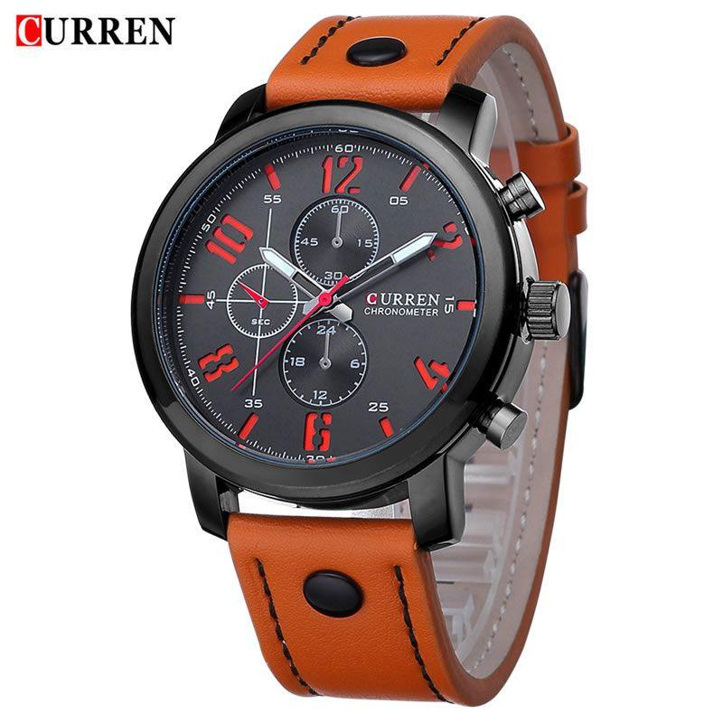 Relógio Masculino Curren 8192 BO Pulseira em Couro Â- Preto