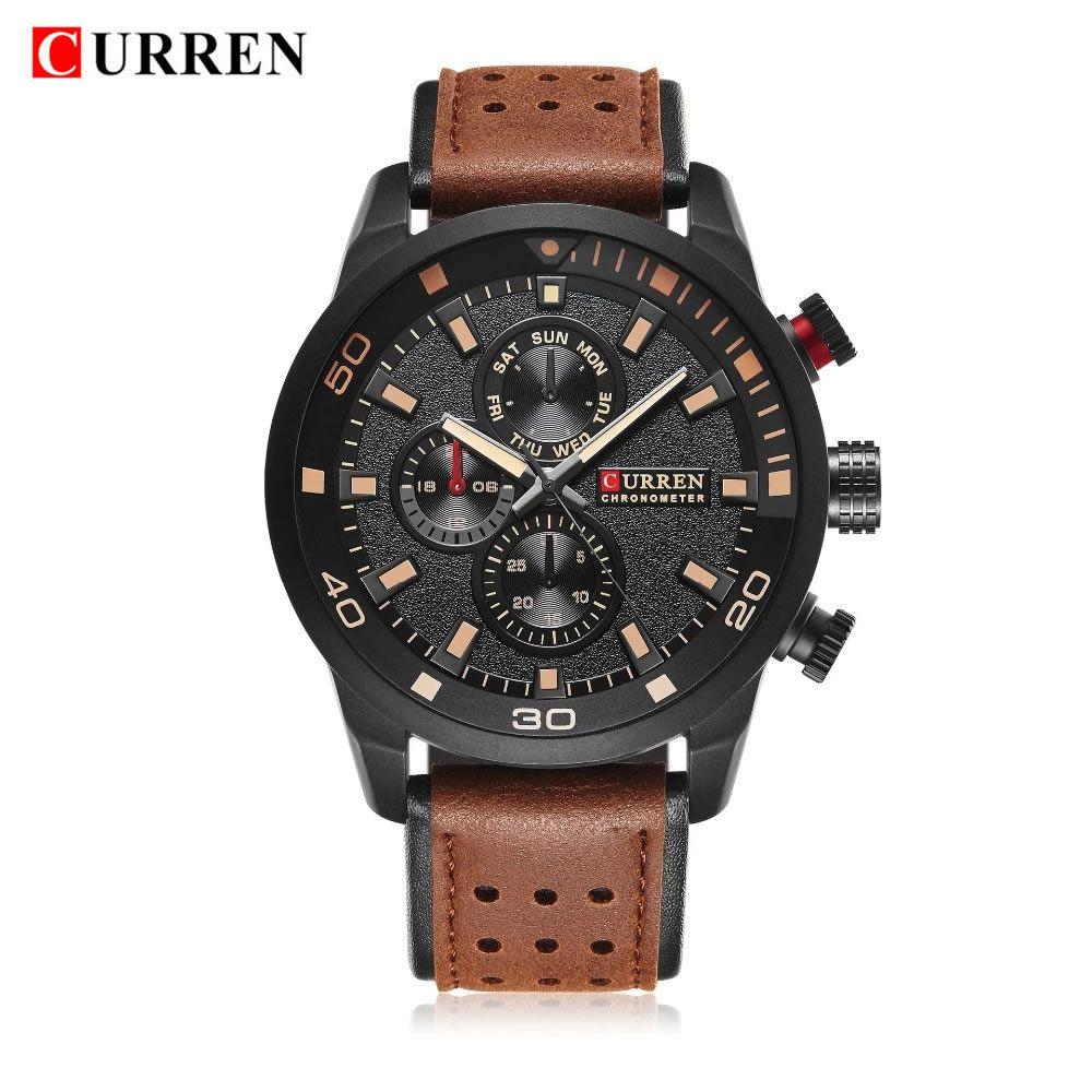 Relógio Masculino Curren 8250 BBY Pulseira em Couro Â- Preto e Marrom