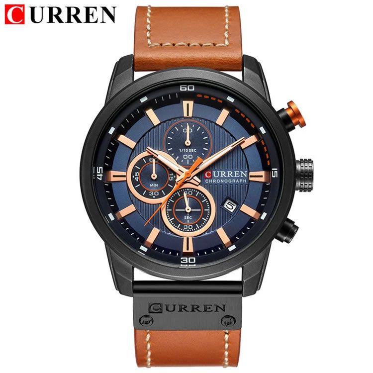 Relógio Masculino Curren 8291 BBE Pulseira em Couro Â- Preto e Azul