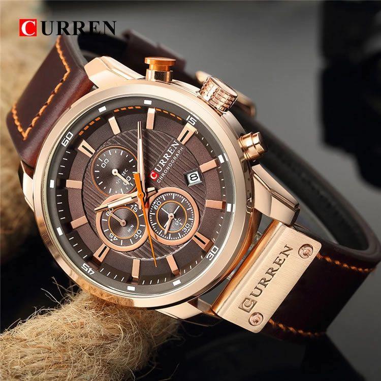 Relógio Masculino Curren 8291 BNG Pulseira em Couro Â- Marrom e Dourado