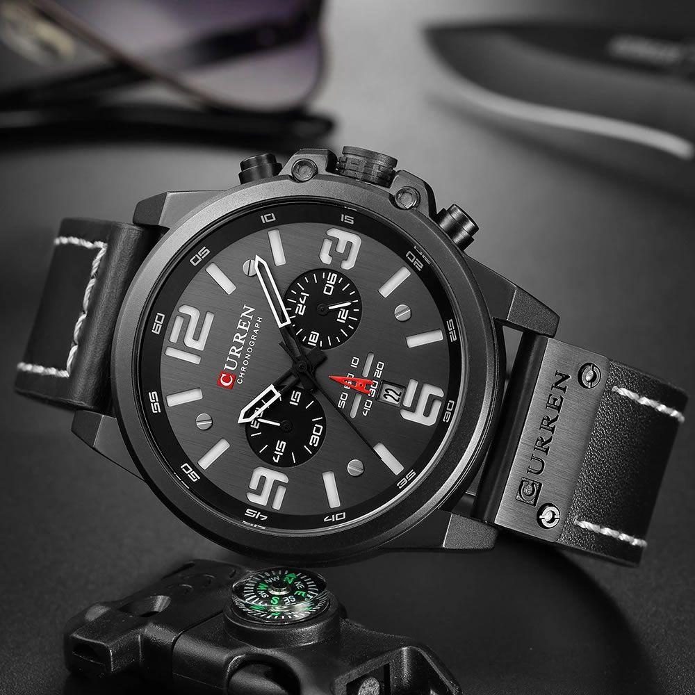 Relógio Masculino Curren 8314 BW Pulseira em Couro Â- Preto