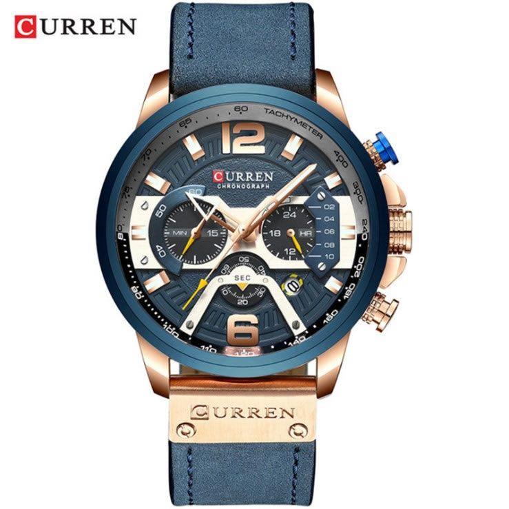 Relógio Masculino Curren 8329 BE Pulseira em couro Â- Azul e Dourado