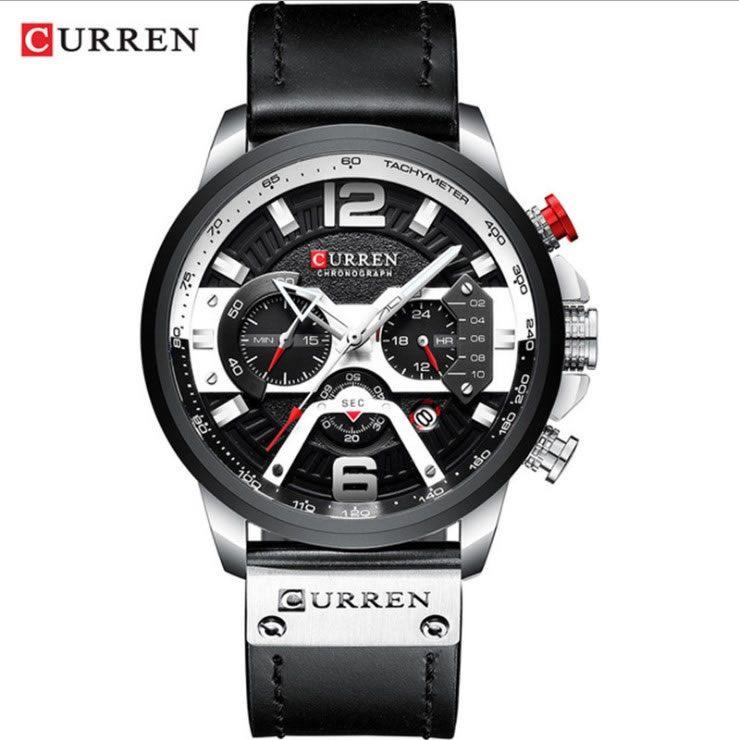 Relógio Masculino Curren 8329 BW Pulseira em couro Â- Preto