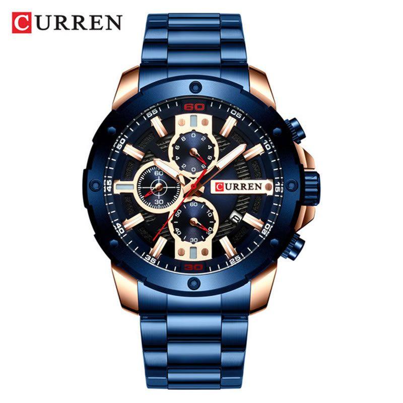 Relógio Masculino Curren 8336 BE Pulseira em Aço Inoxidável Â- Azul e Dourado