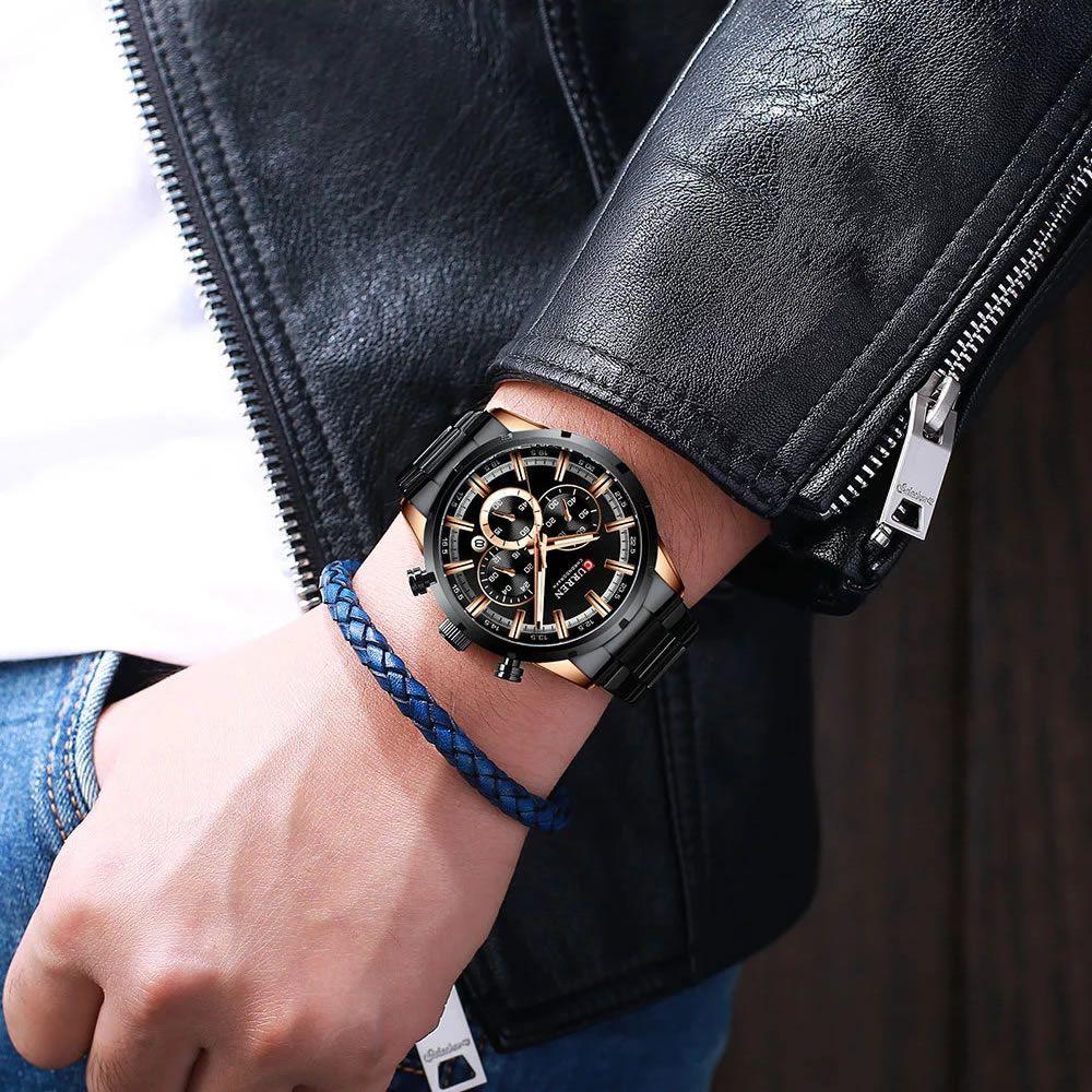 Relógio Masculino Curren 8355 BRG Pulseira em Aço Inoxidável Â- Preto e Dourado